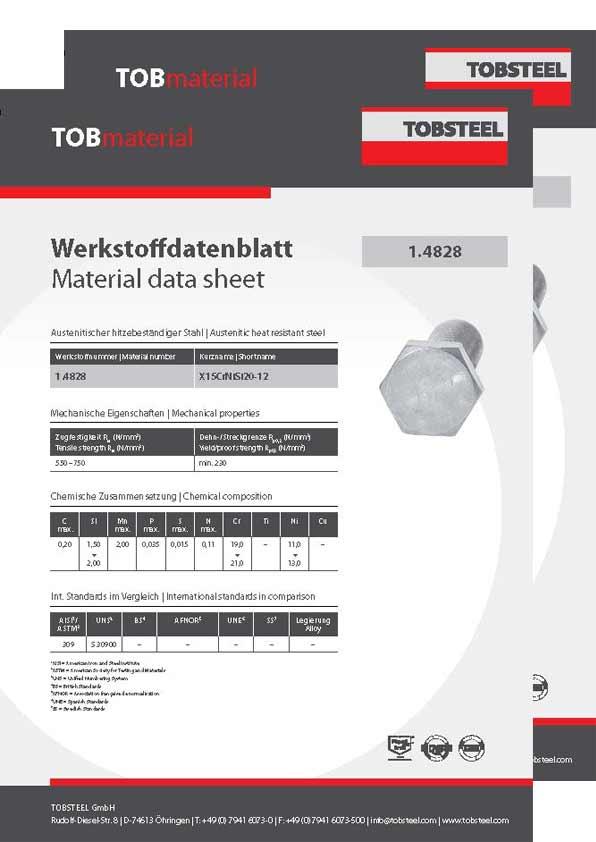 Werkstoffdatenblatt weitere Sonderwerkstoffe 1.4828 und 1.4841