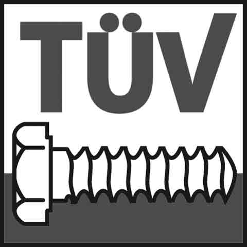 Tuev-mark for certified screws and products