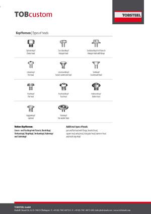 Produktinformation zu Kopfformen von Edelstahlschrauben