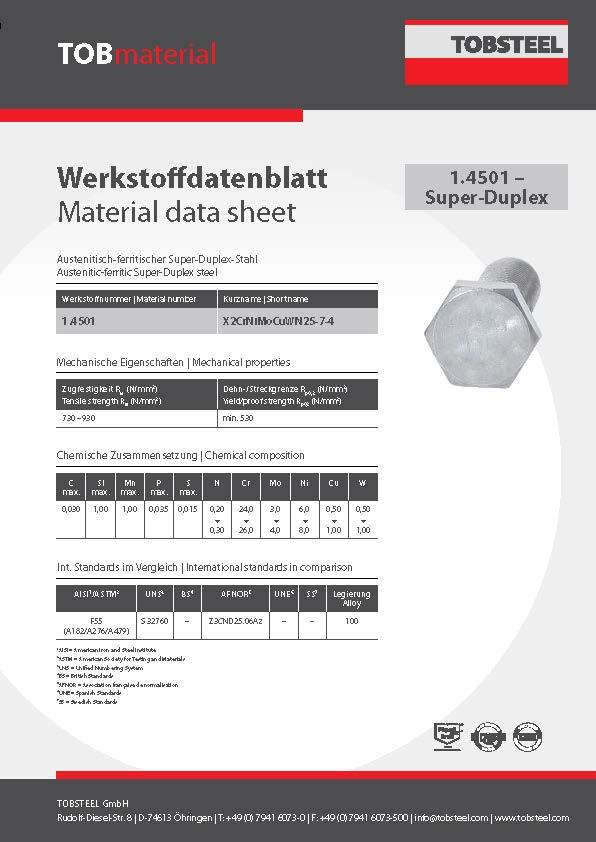 Werkstoffdatenblatt TOBmaterial 1.4501