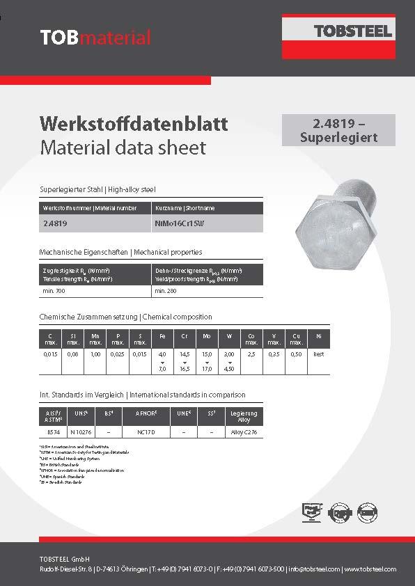 Werkstoffdatenblatt TOBmaterial 2.4819