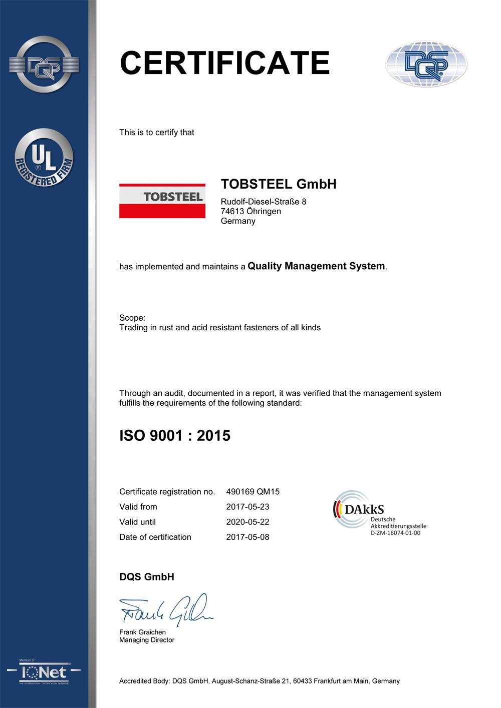 Qualität durch unsere Zertifizierung nach DIN EN ISO 9001:2015
