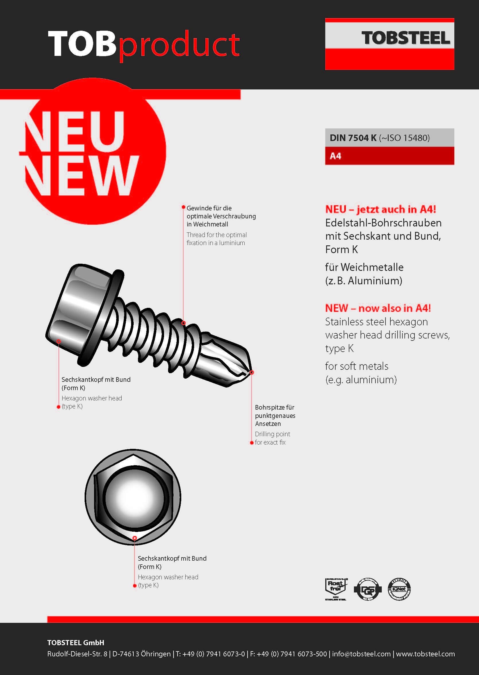 Produktinformation TOBproduct DIN 7504 K
